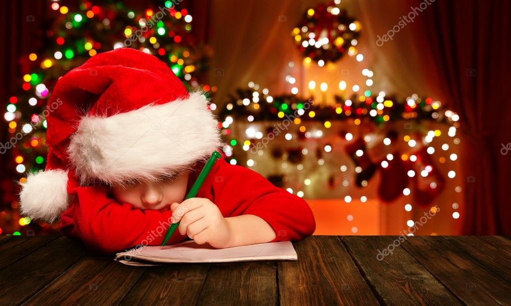 Christmas Child Write Letter to Santa Claus, Kid in Hat Writing