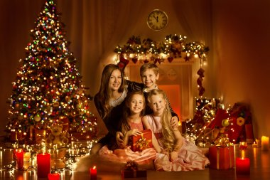 Christmas Family, Decorated Home Room, Christmas Tree and Children
