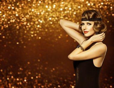 Fashion Woman Retro Hairstyle Makeup, Lady Hair Style