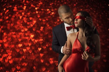 Sexy Couple Love, Man in Suit Woman Blindfold, Red Heart