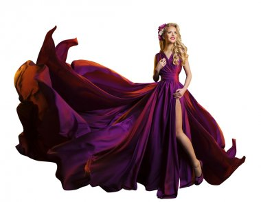 Woman Dress Flying Fabric, Beautiful Fashion Model Purple Gown