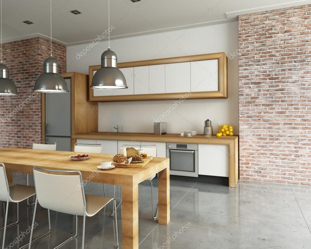 Cozinha Moderna Em Estilo Industrial Fotografias De Stock