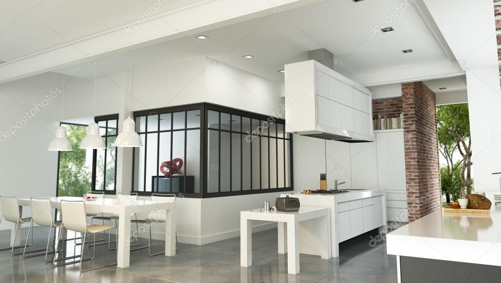 rendu 3d dun intrieur luxueux de style industriel avec une magnifique cuisine intgre image de franckito
