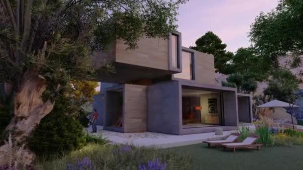3D-Animation rund um ein großes zeitgenössisches Haus mit großem schönen Garten am frühen Morgen
