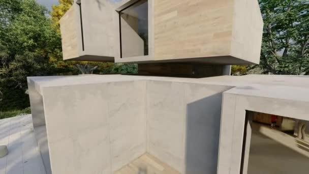 3D-Animation rund um ein großes zeitgenössisches Haus mit großem schönen Garten