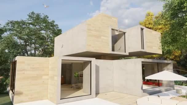 3D-Animation rund um ein großes modernes Haus mit Pool und Garten