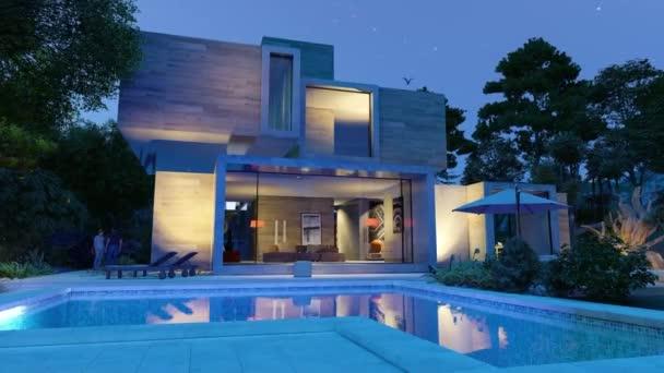 3D-Animation rund um ein großes modernes Haus mit Pool und Garten am Abend