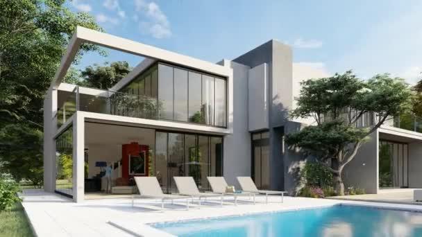 3D-Animation mit einem großen modernen Haus mit Pool und Garten