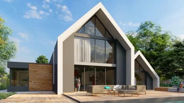3D-Animation mit modernem Satteldachhaus mit Pool und Garten