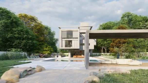 3D-Animation mit einem würfelförmigen modernen Haus mit Garten und Lounge-Bereich am Pool