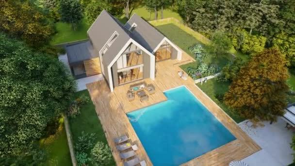 3D-Animation zeigt eine Luftaufnahme eines modernen Satteldachhauses mit Pool und Garten