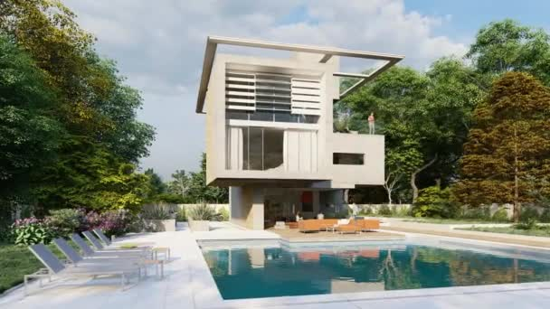 3D animation with a cubic modern house with garden and a lounge area by the pool