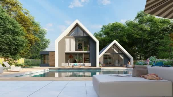 3D animation with a modern pitched roof house with a pool and a garden