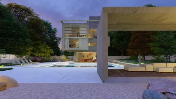 3D animáció egy kortárs kockás ház kerttel és egy társalgó a medence mellett este