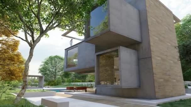 3D-Animation mit einem modernen Kubus-Haus mit Garten und Lounge-Bereich am Pool
