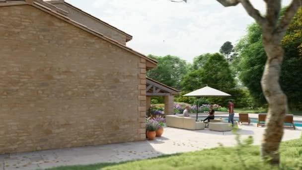 3D-Animation einer Villa im mediterranen Stil mit Pool und Garten