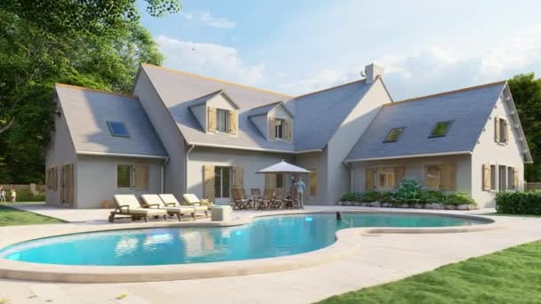 3D animace tradiční břidlicové střechy domu s bazénem a zahradou