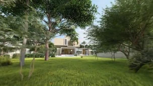 3D-Animation rund um ein großes modernes Haus mit Pool und einem großen schönen Garten