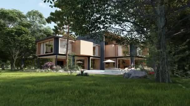 3D-Animation einer großen hölzernen Villa mit Pool und Garten