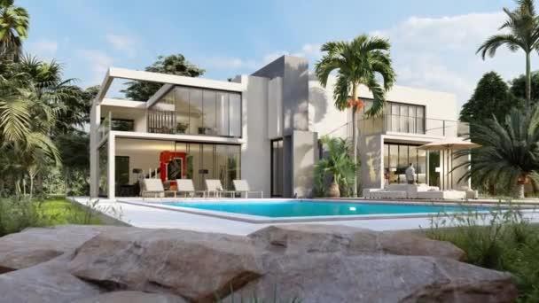 3D-Animation einer schönen modernen Villa mit Pool in einem tropischen Garten