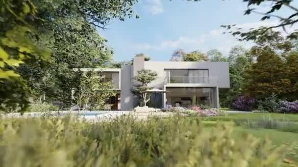 3D-Animation einer schönen modernen Villa mit Pool und großem Garten