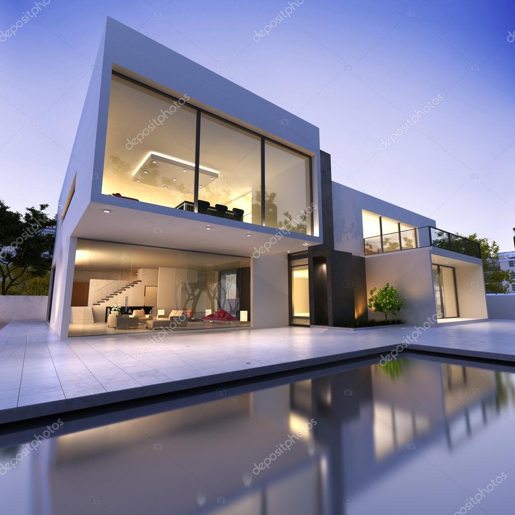 Casa moderna con piscina foto editoriale stock for Casa moderna piscina