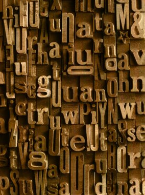 Vintage Wooden letters composition