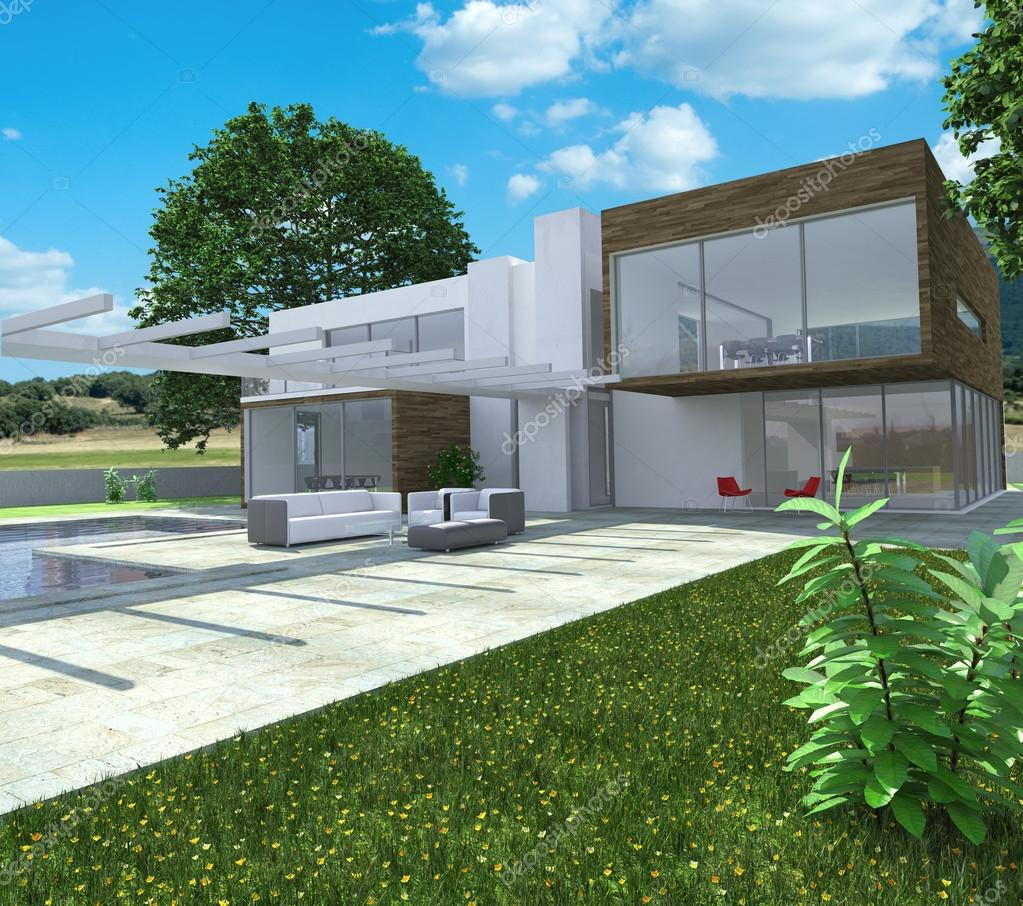 3d rendering of a modern luxurious house with swimming pool photo by franckito