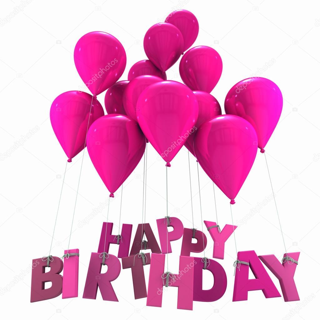 Buon compleanno con palloncini rosa — Foto Stock © franckito #65906735