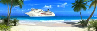 Cruise ship and tropical beach