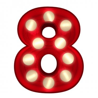 Glowing 8 on white
