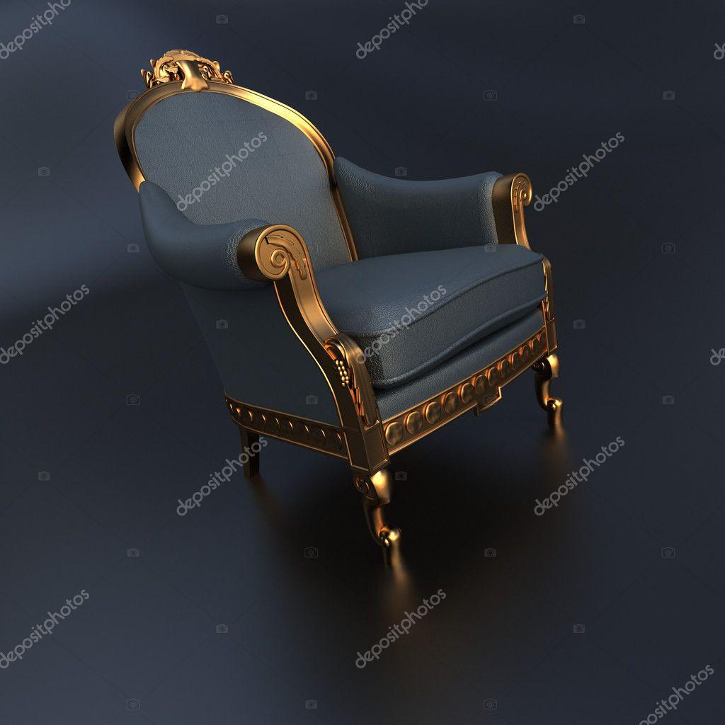 Grau Und Gold Jahrgang Verzieren Stuhl Stockfoto