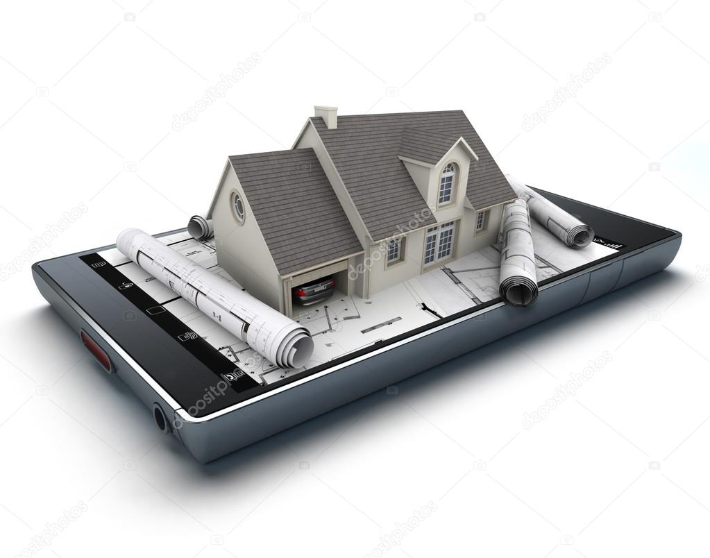 3D Rendering Of A Smart Phone With A House And Blueprints Jutting Out U2014  Photo By Franckito