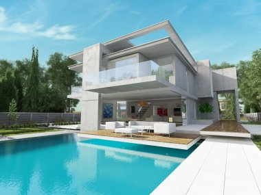 Contemporary house with pool