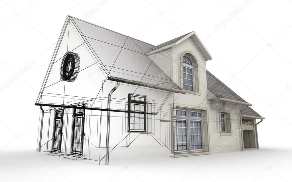 Progettazione Casa 3d : Rendering d di un progetto di casa mostrando le fasi differenti