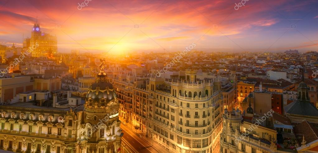 Madrid downtown at sunset