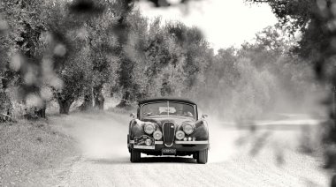 A Jaguar XK120 takes part to the GP Nuvolari classic car race on September 20, 2014 in Castelnuovo Berardenga (SI)