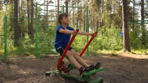 Boy training on the playground
