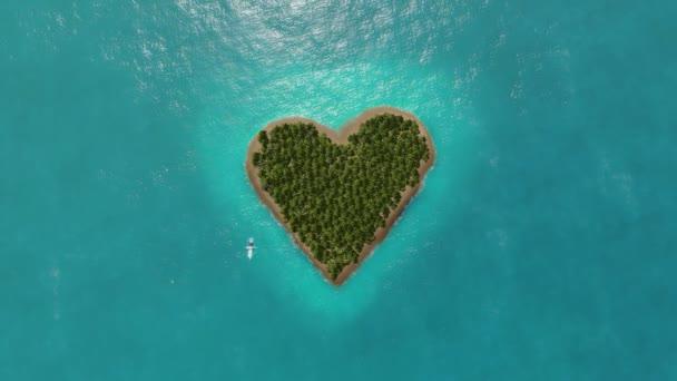 Insel in Herzform und das fliegende Flugzeug.