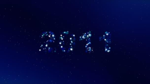 Leuchtendes 2011 Textanimation auf dunkel blauem Hintergrund.