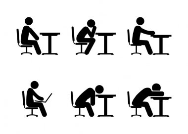 Pictogram Businessman or Student Working on Computer, Thinking and Tiered.