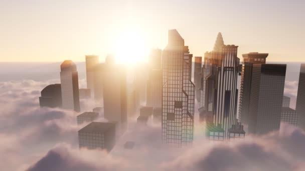 Letecký pohled na panorama Manhattanu při západu slunce v mlze, New York City