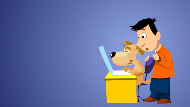 Man and dog buying a car on the internet site.