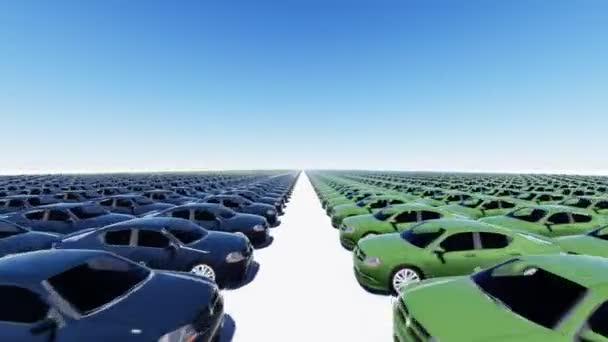 viele neue Autos in verschiedenen hellen Farben in Reihen geparkt.