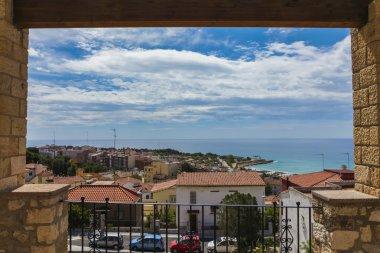 view from balcony to coast in Tarragona, Spain