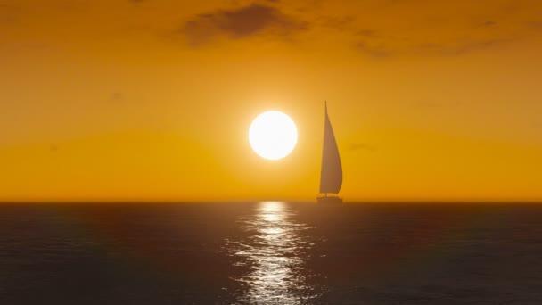 plachetnice na moři při západu slunce