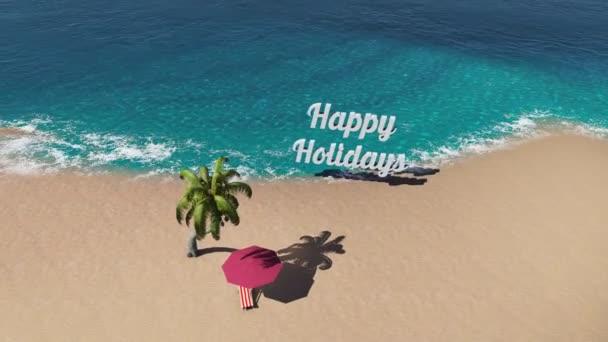 Tropická pláž s palmami a křeslo. Hezké Svátky