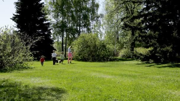 šťastná rodina - matka a tři děti v zeleném parku se psem