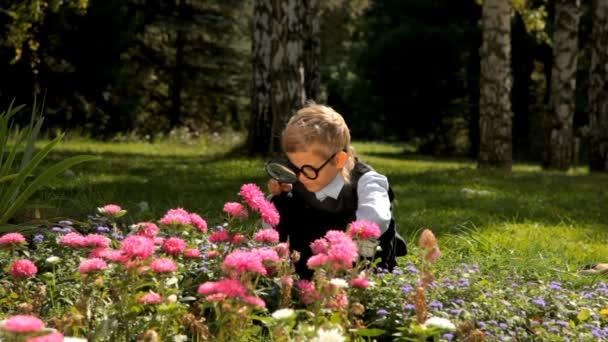 Neugieriger kleiner Junge mit Lupe studiert Blumen im Garten
