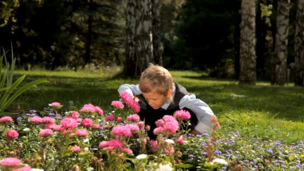 curious student boy with magnifying glass looking at flowers in the garden